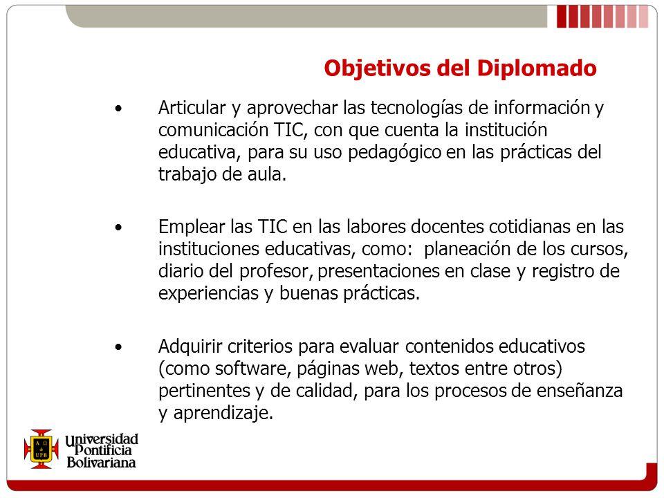 Articular y aprovechar las tecnologías de información y comunicación TIC, con que cuenta la institución educativa, para su uso pedagógico en las prácticas del trabajo de aula.