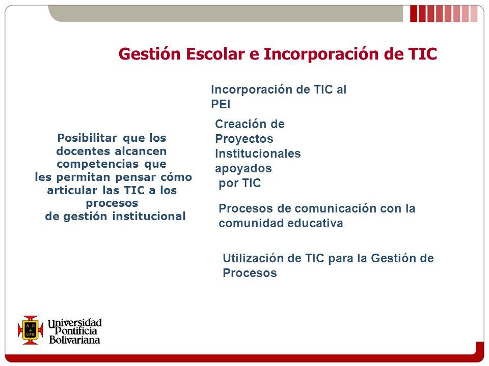 Posibilitar que los docentes alcancen competencias que les permitan pensar cómo articular las TIC a los procesos de gestión institucional Gestión Escolar e Incorporación de TIC Incorporación de TIC al PEI Creación de Proyectos Institucionales apoyados por TIC Procesos de comunicación con la comunidad educativa Utilización de TIC para la Gestión de Procesos