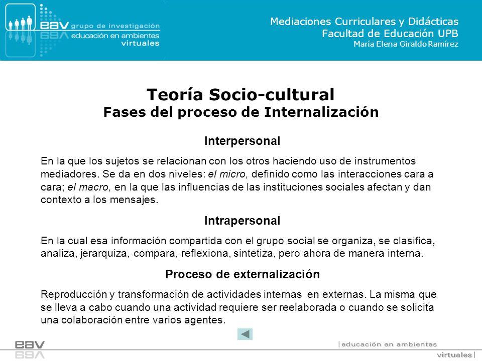 Teoría Socio-cultural Fases del proceso de Internalización Mediaciones Curriculares y Didácticas Facultad de Educación UPB María Elena Giraldo Ramírez