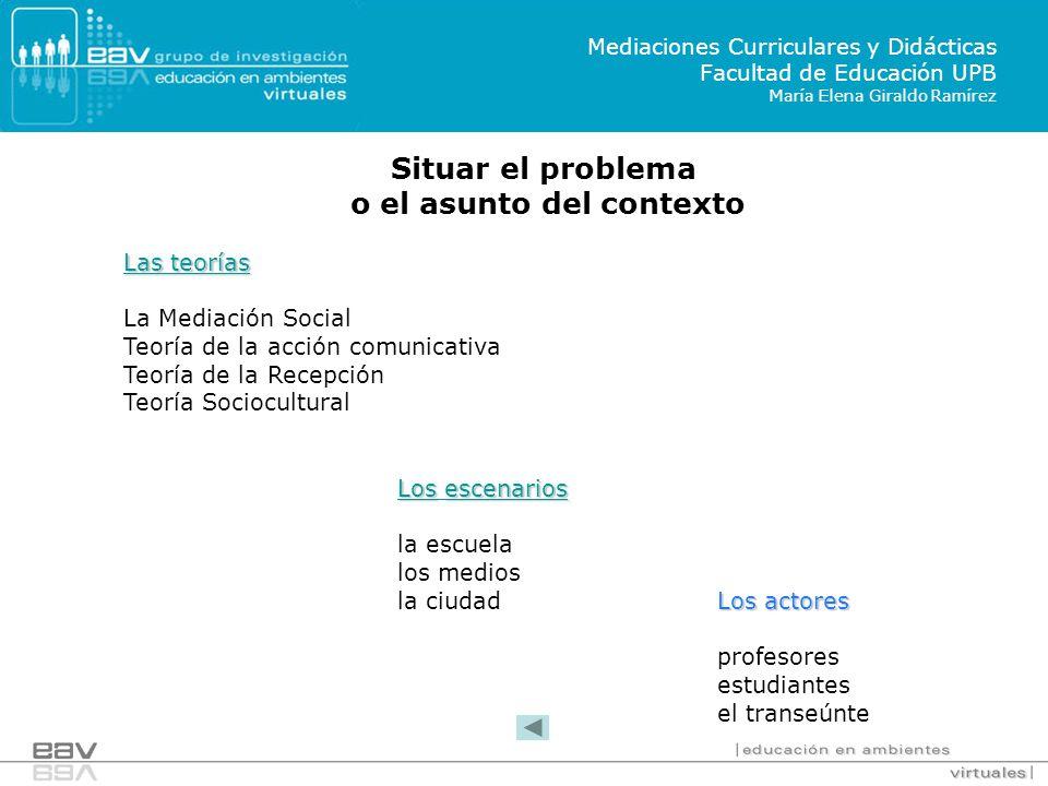 Losescenarios Los escenarios la escuela los medios la ciudad Situar el problema o el asunto del contexto Las teorías Las teorías La Mediación Social T