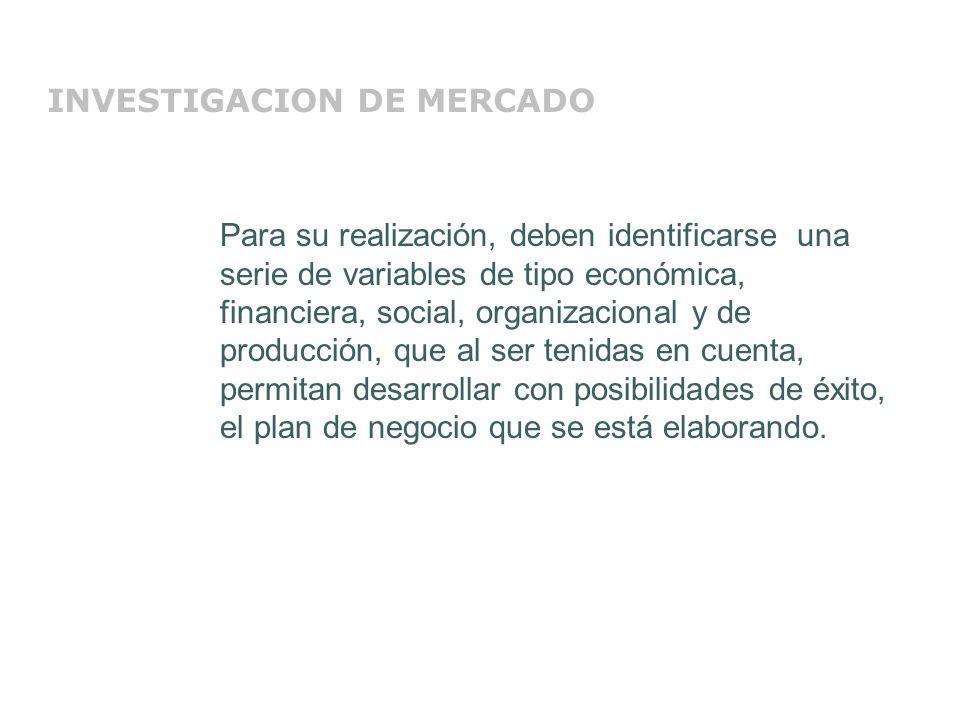 LA INVESTIGACIÓN DE MERCADOS Herramientas: Realización de encuestas Método de regresión lineal Permiten obtener información necesaria para la identificación y cuantificación del segmento del mercado objeto del plan de negocio.