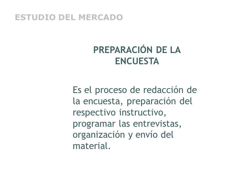 PREPARACIÓN DE LA ENCUESTA Es el proceso de redacción de la encuesta, preparación del respectivo instructivo, programar las entrevistas, organización