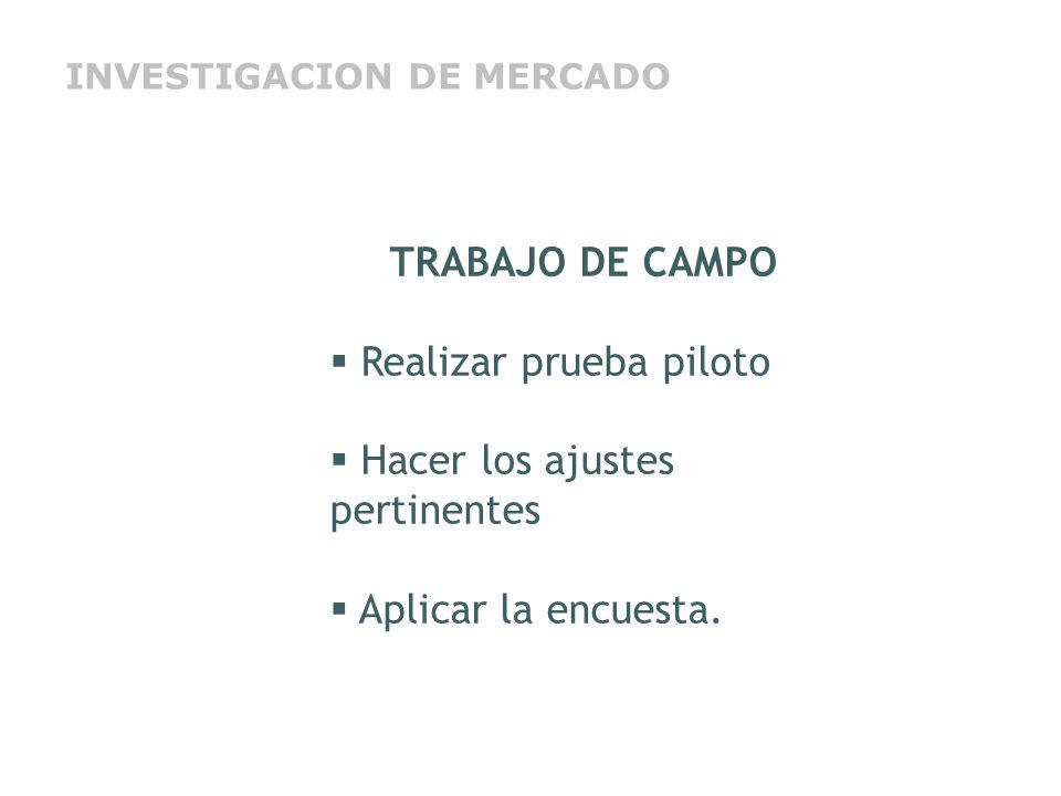 TRABAJO DE CAMPO Realizar prueba piloto Hacer los ajustes pertinentes Aplicar la encuesta. INVESTIGACION DE MERCADO