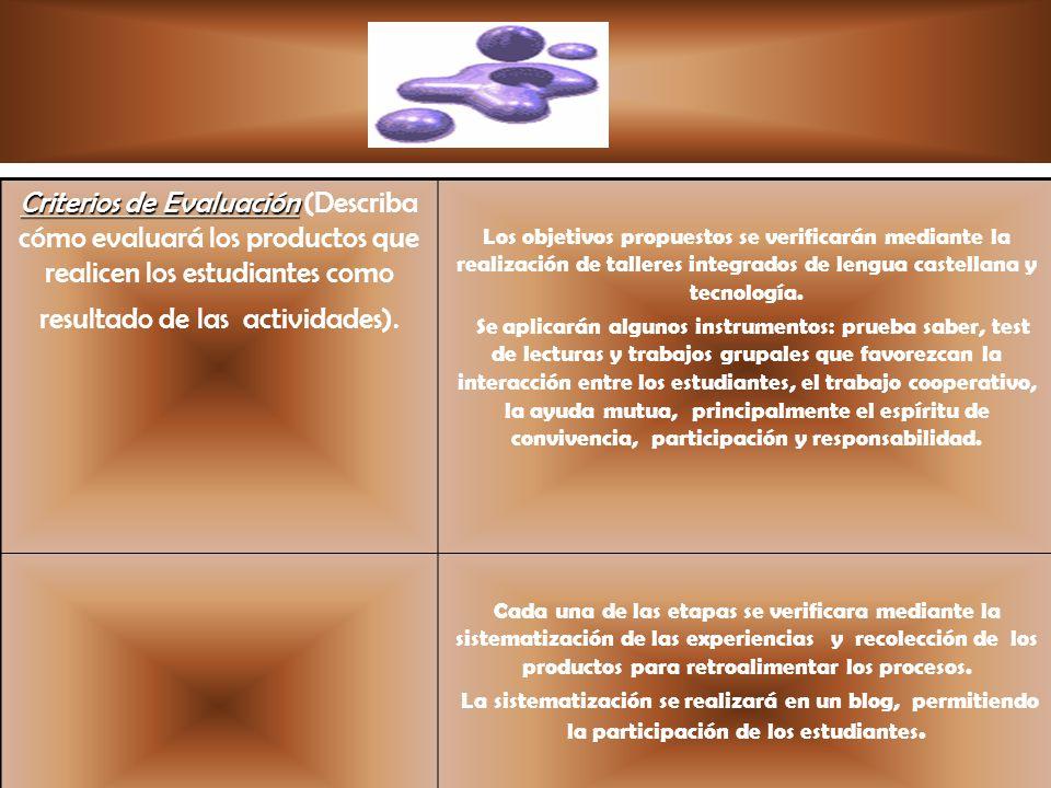 Criterios de Evaluación Criterios de Evaluación (Describa cómo evaluará los productos que realicen los estudiantes como resultado de las actividades).