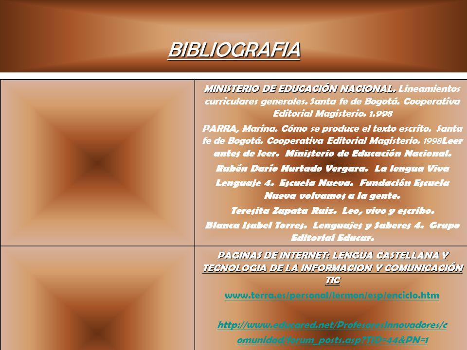 BIBLIOGRAFIA MINISTERIO DE EDUCACIÓN NACIONAL. MINISTERIO DE EDUCACIÓN NACIONAL. Lineamientos curriculares generales. Santa fe de Bogotá. Cooperativa