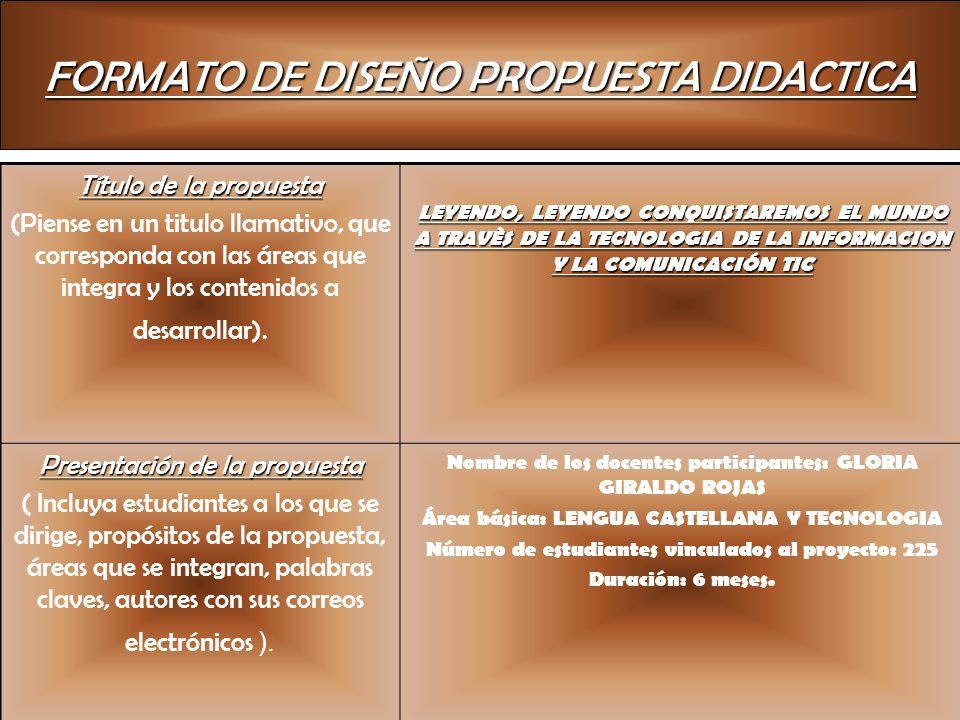 FORMATO DE DISEÑO PROPUESTA DIDACTICA Título de la propuesta (Piense en un titulo llamativo, que corresponda con las áreas que integra y los contenido