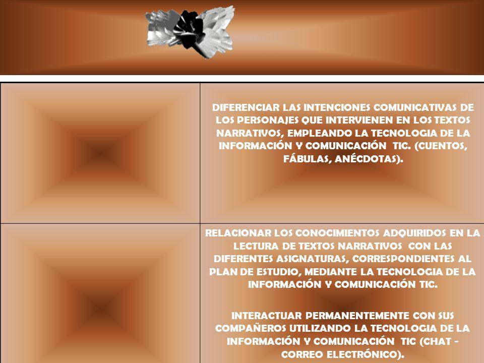DIFERENCIAR LAS INTENCIONES COMUNICATIVAS DE LOS PERSONAJES QUE INTERVIENEN EN LOS TEXTOS NARRATIVOS, EMPLEANDO LA TECNOLOGIA DE LA INFORMACIÓN Y COMU
