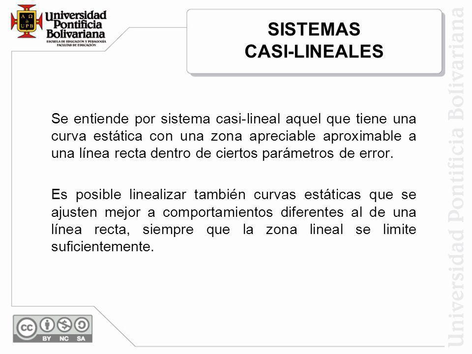 SISTEMAS CASI-LINEALES Se entiende por sistema casi-lineal aquel que tiene una curva estática con una zona apreciable aproximable a una línea recta de