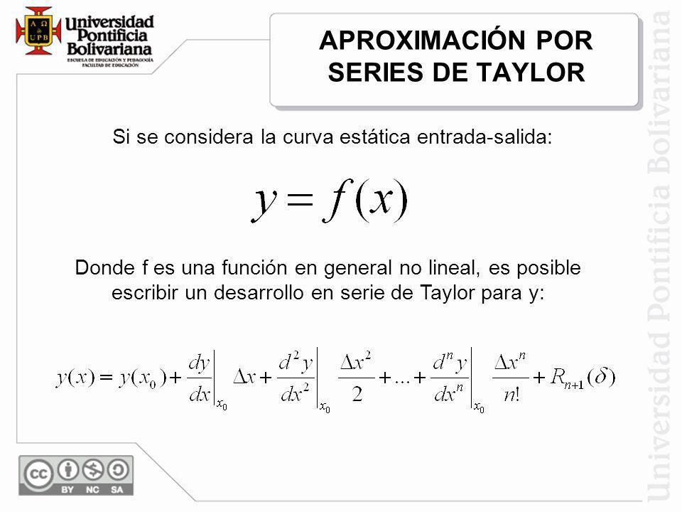 APROXIMACIÓN POR SERIES DE TAYLOR Si se considera la curva estática entrada-salida: Donde f es una función en general no lineal, es posible escribir u