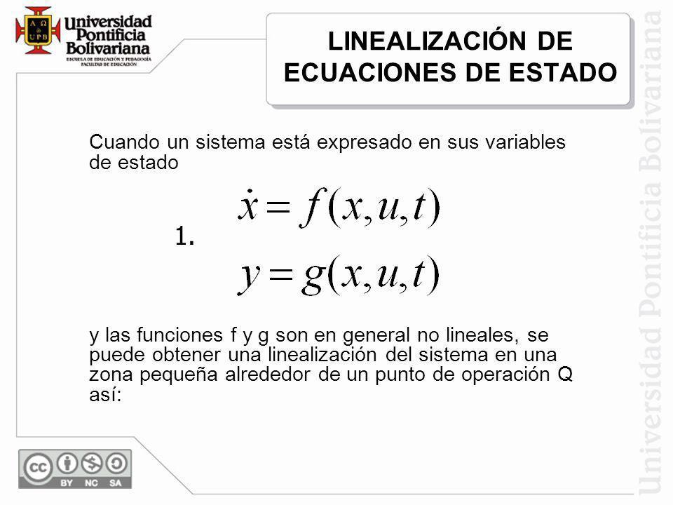 LINEALIZACIÓN DE ECUACIONES DE ESTADO Cuando un sistema está expresado en sus variables de estado y las funciones f y g son en general no lineales, se