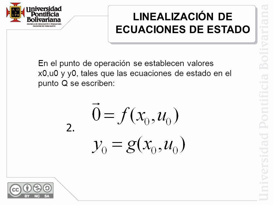 En el punto de operación se establecen valores x0,u0 y y0, tales que las ecuaciones de estado en el punto Q se escriben: 2. LINEALIZACIÓN DE ECUACIONE