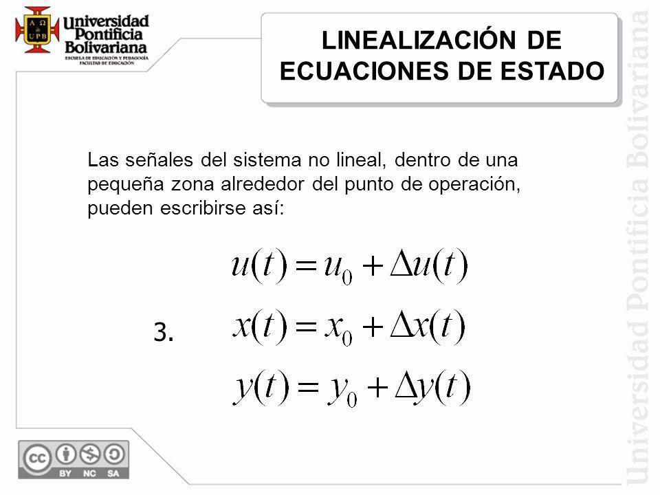 Las señales del sistema no lineal, dentro de una pequeña zona alrededor del punto de operación, pueden escribirse así: 3. LINEALIZACIÓN DE ECUACIONES
