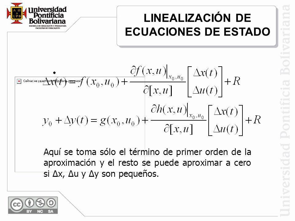 Aquí se toma sólo el término de primer orden de la aproximación y el resto se puede aproximar a cero si Δx, Δu y Δy son pequeños. LINEALIZACIÓN DE ECU