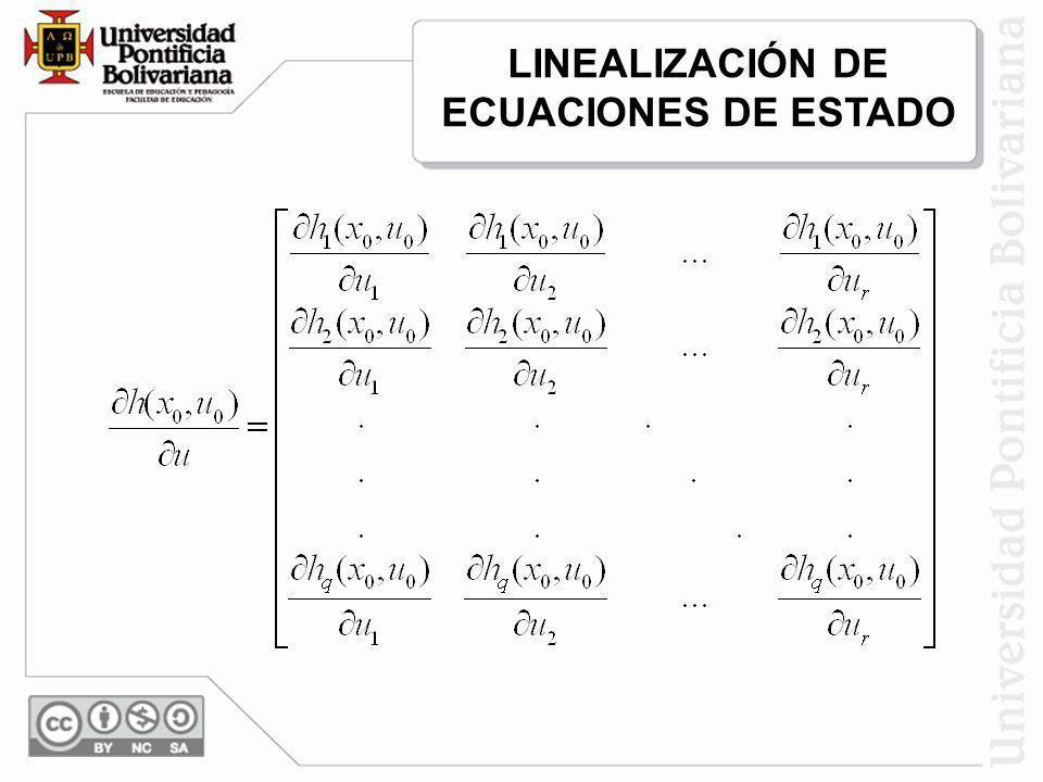 Las ecuaciones de espacio de estado linealizadas quedan entonces: En donde: LINEALIZACIÓN DE ECUACIONES DE ESTADO