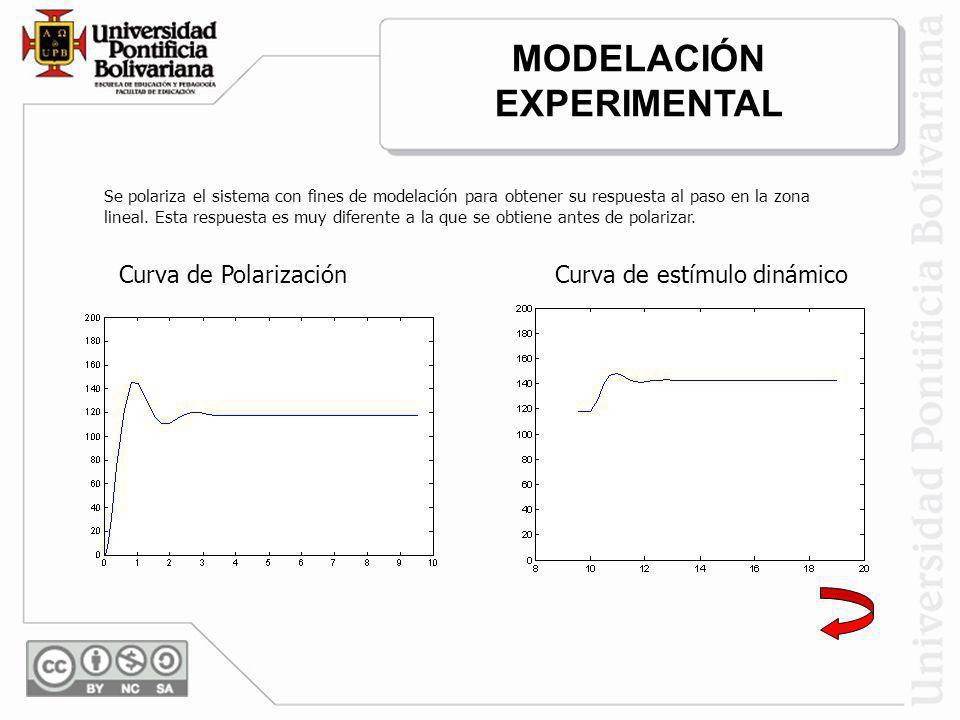 Curva de PolarizaciónCurva de estímulo dinámico Se polariza el sistema con fines de modelación para obtener su respuesta al paso en la zona lineal. Es