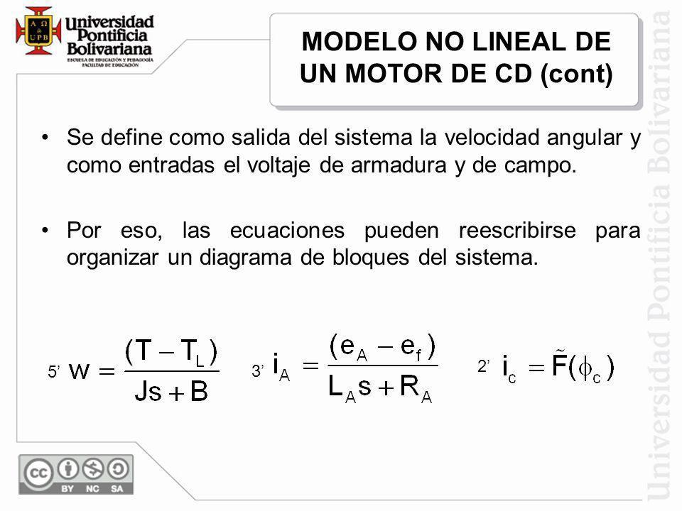 Se define como salida del sistema la velocidad angular y como entradas el voltaje de armadura y de campo. Por eso, las ecuaciones pueden reescribirse