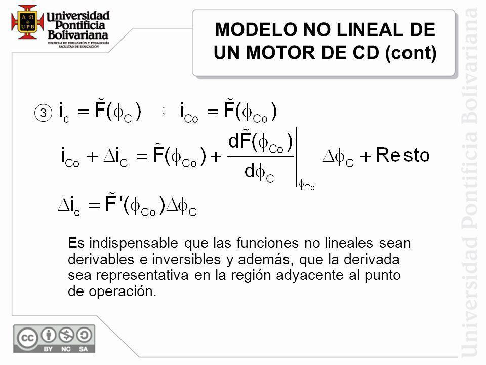 Es indispensable que las funciones no lineales sean derivables e inversibles y además, que la derivada sea representativa en la región adyacente al pu