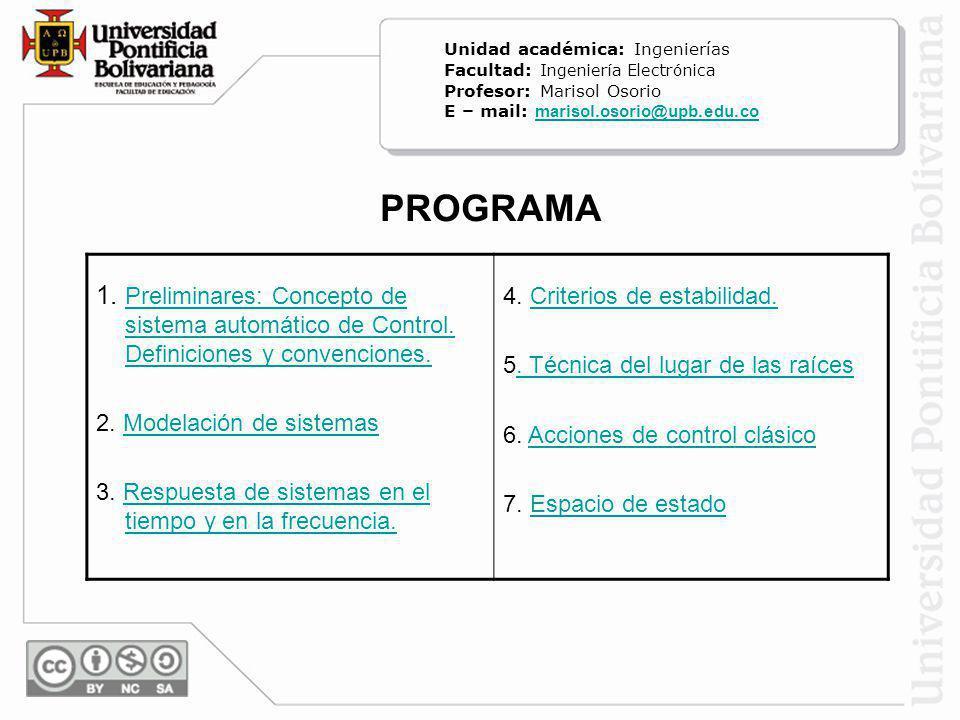 PROGRAMA 1. Preliminares: Concepto de sistema automático de Control. Definiciones y convenciones. Preliminares: Concepto de sistema automático de Cont