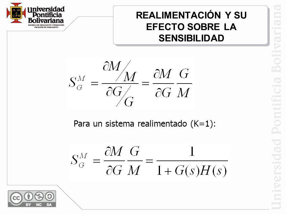 REALIMENTACIÓN Y SU EFECTO SOBRE LA SENSIBILIDAD Para un sistema realimentado (K=1):