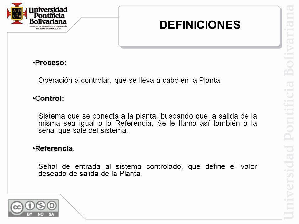 Proceso:Proceso: Operación a controlar, que se lleva a cabo en la Planta. Control:Control: Sistema que se conecta a la planta, buscando que la salida