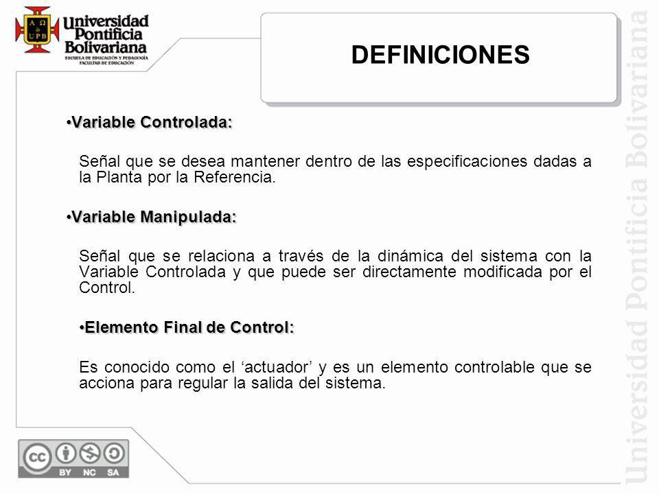 Variable Controlada:Variable Controlada: Señal que se desea mantener dentro de las especificaciones dadas a la Planta por la Referencia. Variable Mani
