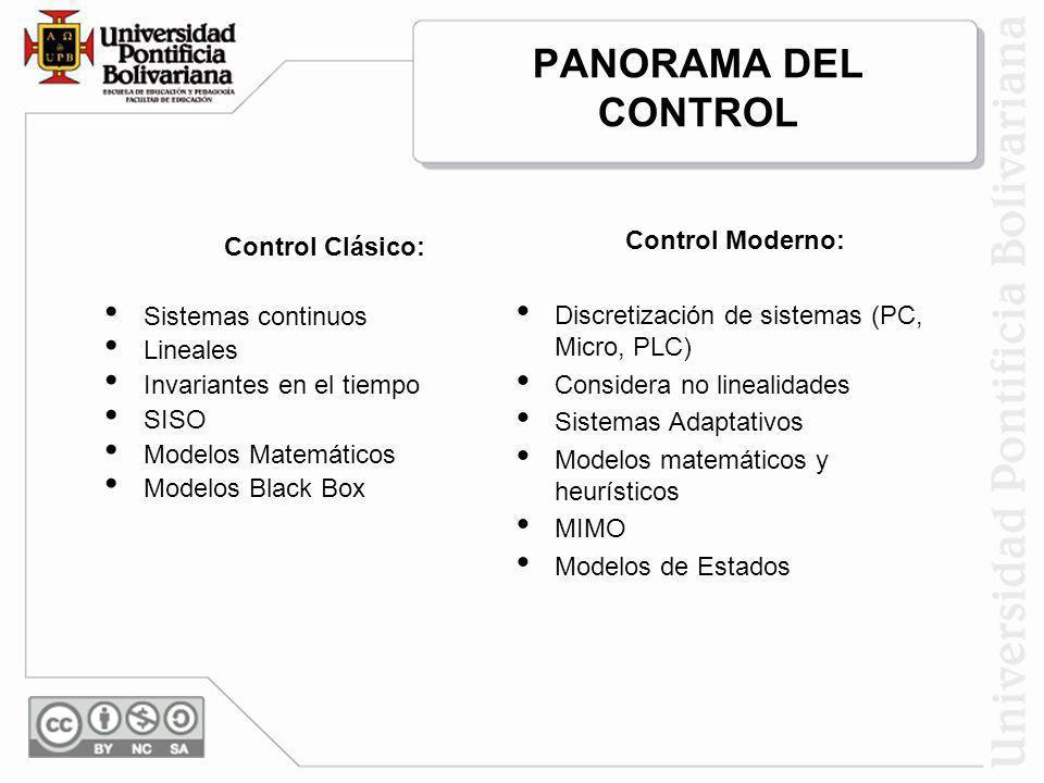PANORAMA DEL CONTROL Control Clásico: Sistemas continuos Lineales Invariantes en el tiempo SISO Modelos Matemáticos Modelos Black Box Control Moderno: Discretización de sistemas (PC, Micro, PLC) Considera no linealidades Sistemas Adaptativos Modelos matemáticos y heurísticos MIMO Modelos de Estados