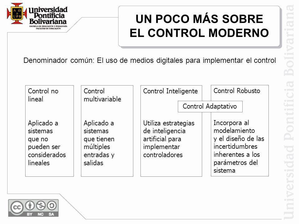 UN POCO MÁS SOBRE EL CONTROL MODERNO Denominador común: El uso de medios digitales para implementar el control Control no lineal Aplicado a sistemas q
