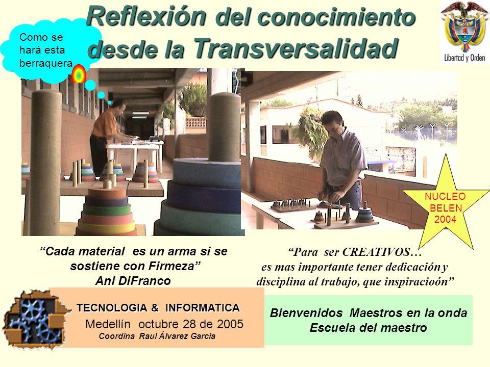 TECNOLOGIA & INFORMATICA Medellín octubre 28 de 2005 Coordina Raul Álvarez García Bienvenidos Maestros en la onda Escuela del maestro Como se hará esta berraquera … Reflexión del conocimiento desde la Transversalidad Reflexión del conocimiento desde la Transversalidad Para ser CREATIVOS… es mas importante tener dedicación y disciplina al trabajo, que inspiracioón Cada material es un arma si se sostiene con Firmeza Ani DiFranco NUCLEO BELEN 2004