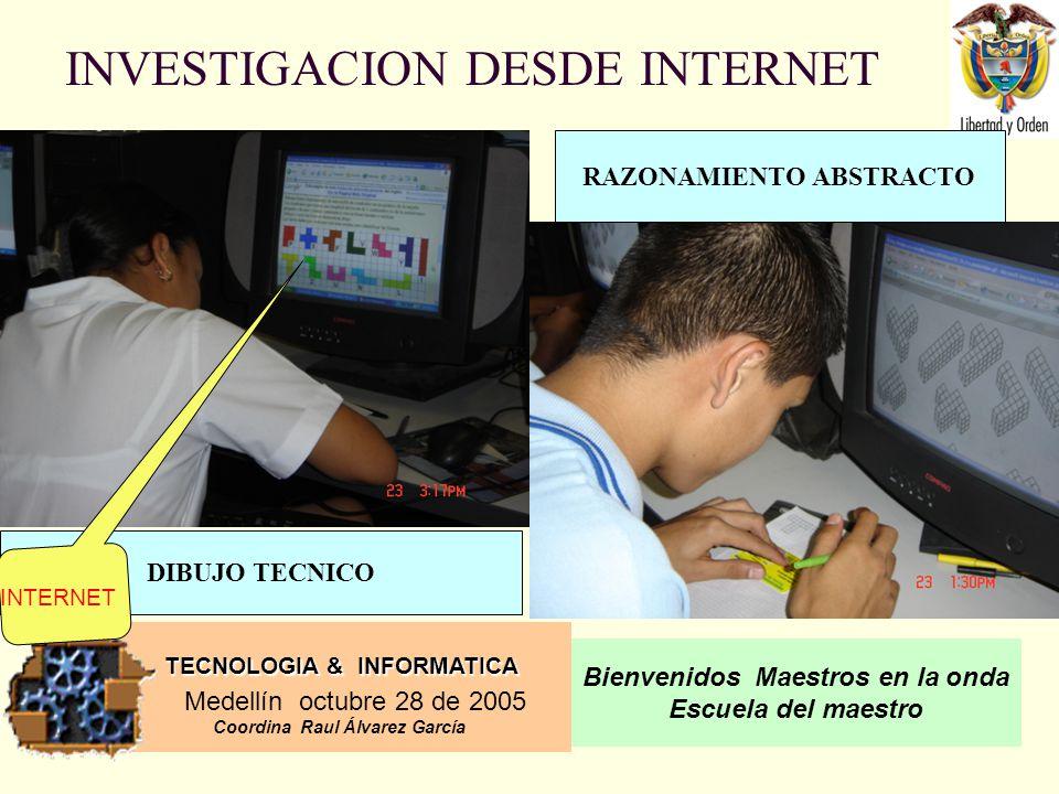 TECNOLOGIA & INFORMATICA Medellín octubre 28 de 2005 Coordina Raul Álvarez García Bienvenidos Maestros en la onda Escuela del maestro INVESTIGACION DESDE INTERNET RAZONAMIENTO ABSTRACTO DIBUJO TECNICO INTERNET