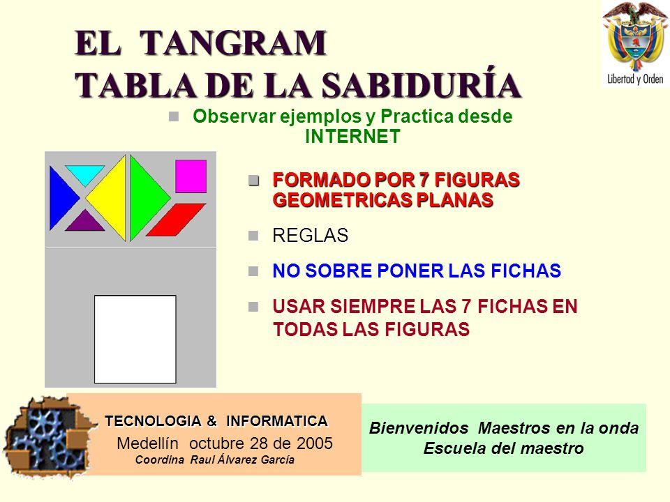 TECNOLOGIA & INFORMATICA Medellín octubre 28 de 2005 Coordina Raul Álvarez García Bienvenidos Maestros en la onda Escuela del maestro EL TANGRAM TABLA DE LA SABIDURÍA Observar ejemplos y Practica desde INTERNET FORMADO POR 7 FIGURAS GEOMETRICAS PLANAS FORMADO POR 7 FIGURAS GEOMETRICAS PLANAS REGLAS REGLAS NO SOBRE PONER LAS FICHAS USAR SIEMPRE LAS 7 FICHAS EN TODAS LAS FIGURAS