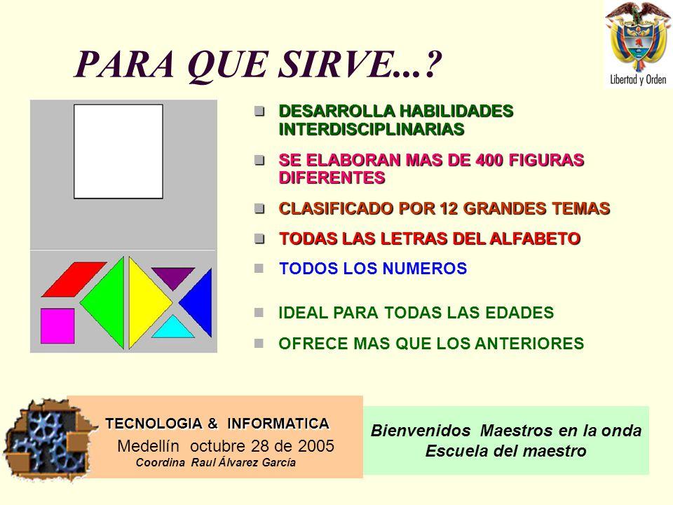 TECNOLOGIA & INFORMATICA Medellín octubre 28 de 2005 Coordina Raul Álvarez García Bienvenidos Maestros en la onda Escuela del maestro PARA QUE SIRVE....