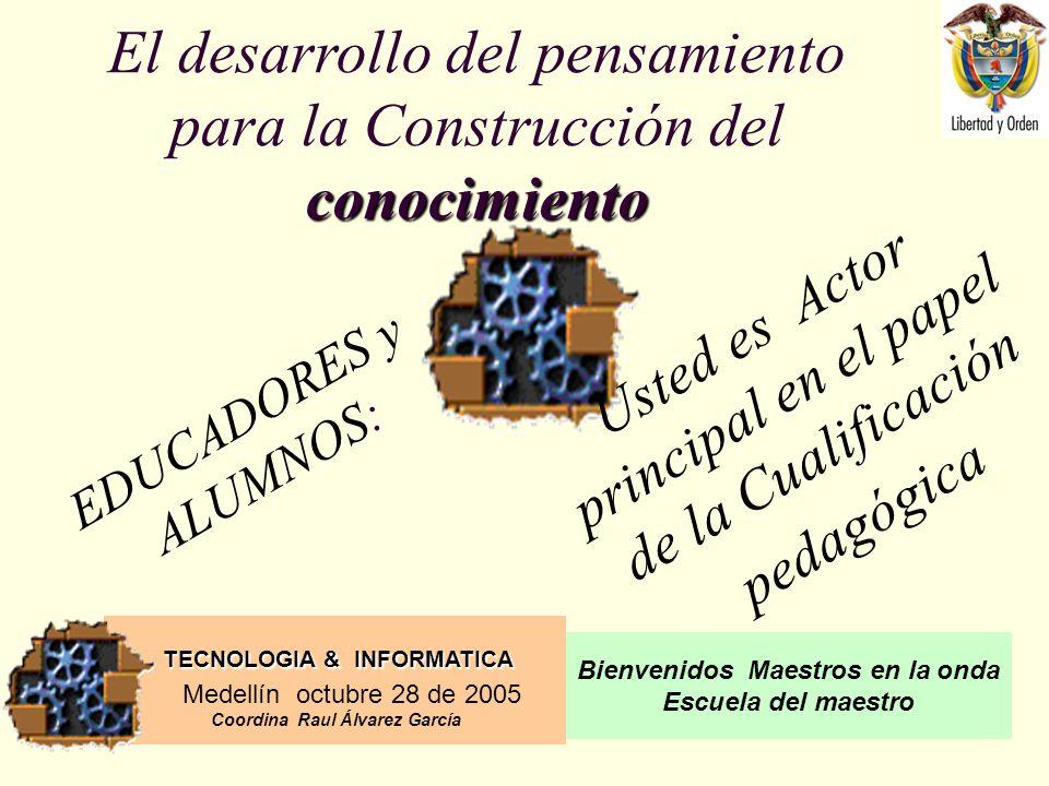 TECNOLOGIA & INFORMATICA Medellín octubre 28 de 2005 Coordina Raul Álvarez García Bienvenidos Maestros en la onda Escuela del maestro DESARROLLO LOGICO MATEMATICO LOS PENTOMINOS