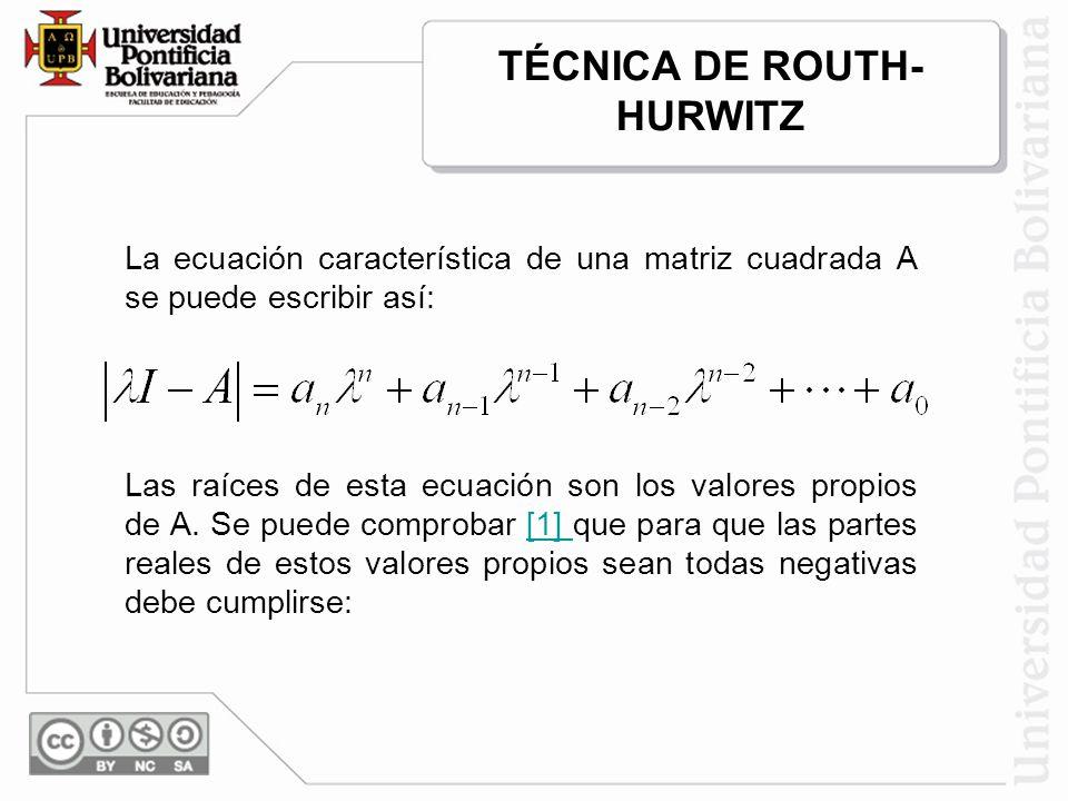 La ecuación característica de una matriz cuadrada A se puede escribir así: Las raíces de esta ecuación son los valores propios de A. Se puede comproba