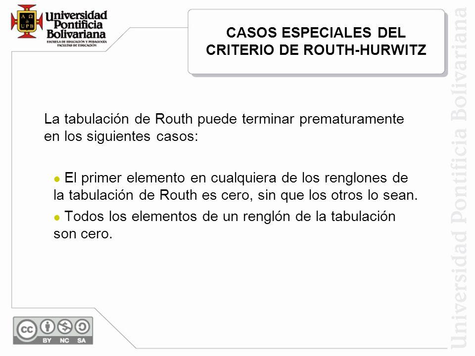 CASOS ESPECIALES DEL CRITERIO DE ROUTH-HURWITZ La tabulación de Routh puede terminar prematuramente en los siguientes casos: El primer elemento en cua