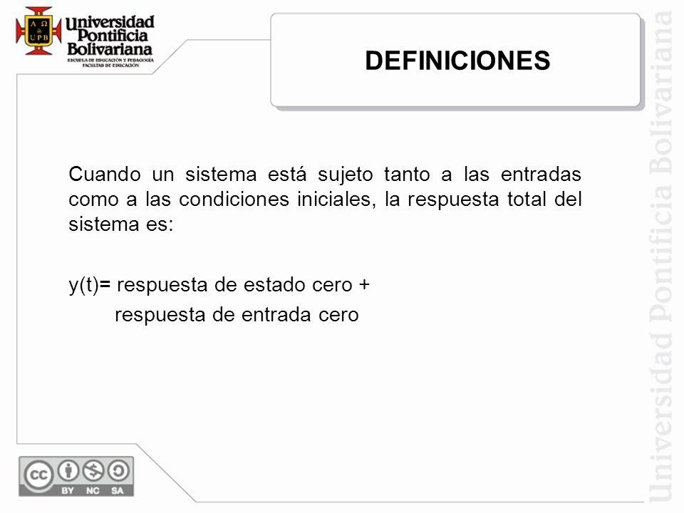 Cuando un sistema está sujeto tanto a las entradas como a las condiciones iniciales, la respuesta total del sistema es: y(t)= respuesta de estado cero