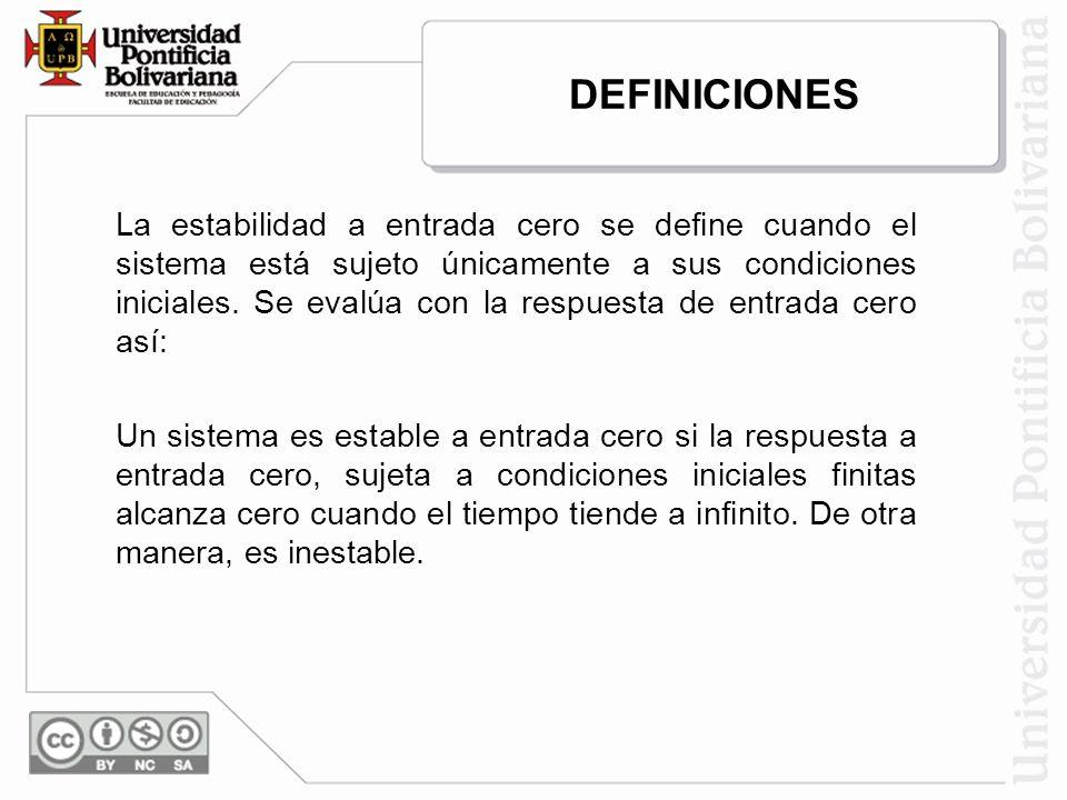 La estabilidad a entrada cero se define cuando el sistema está sujeto únicamente a sus condiciones iniciales. Se evalúa con la respuesta de entrada ce