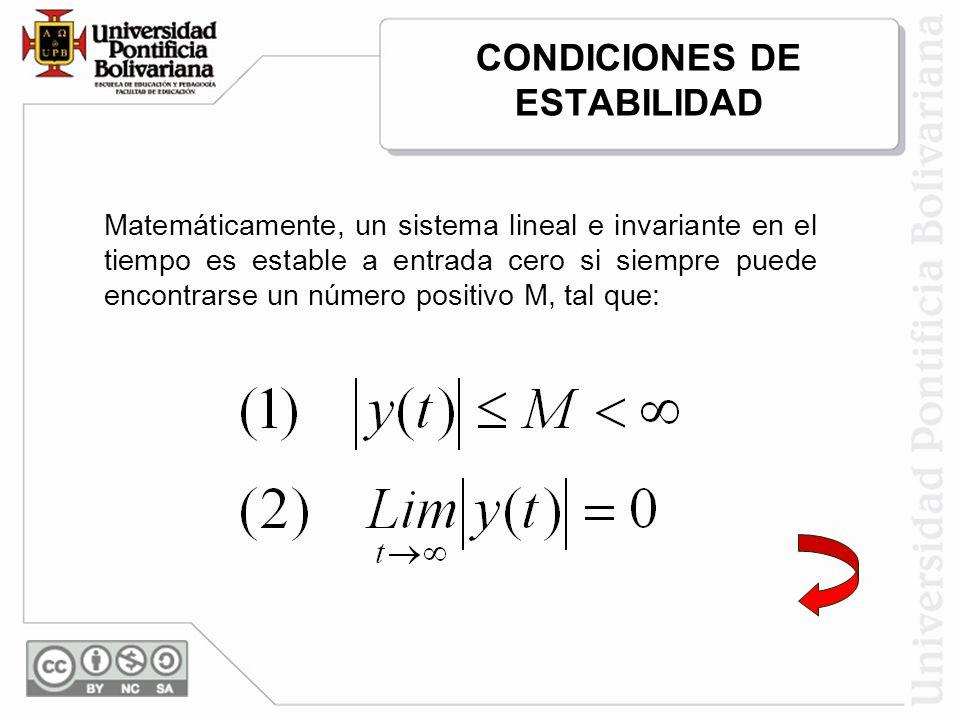 CONDICIONES DE ESTABILIDAD Matemáticamente, un sistema lineal e invariante en el tiempo es estable a entrada cero si siempre puede encontrarse un núme