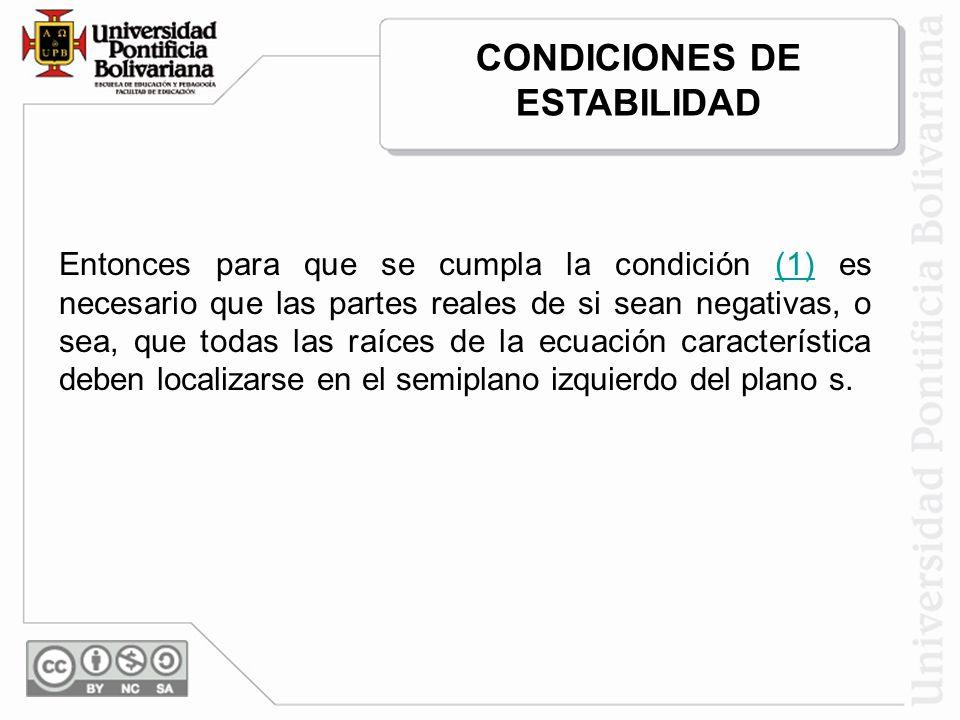 Entonces para que se cumpla la condición (1) es necesario que las partes reales de si sean negativas, o sea, que todas las raíces de la ecuación carac