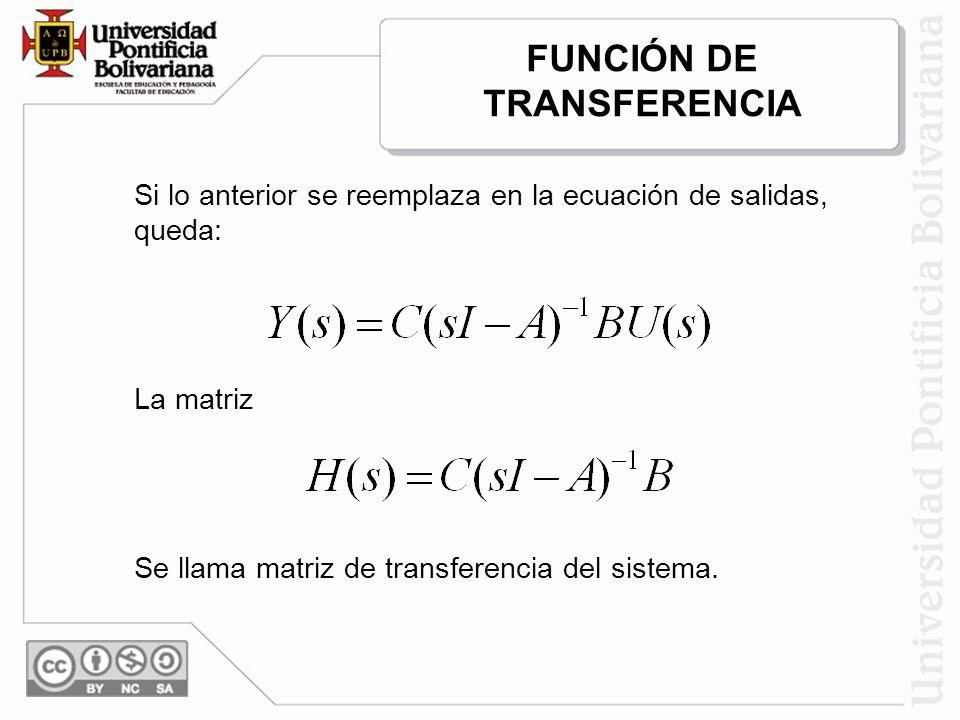 Si lo anterior se reemplaza en la ecuación de salidas, queda: La matriz Se llama matriz de transferencia del sistema. FUNCIÓN DE TRANSFERENCIA