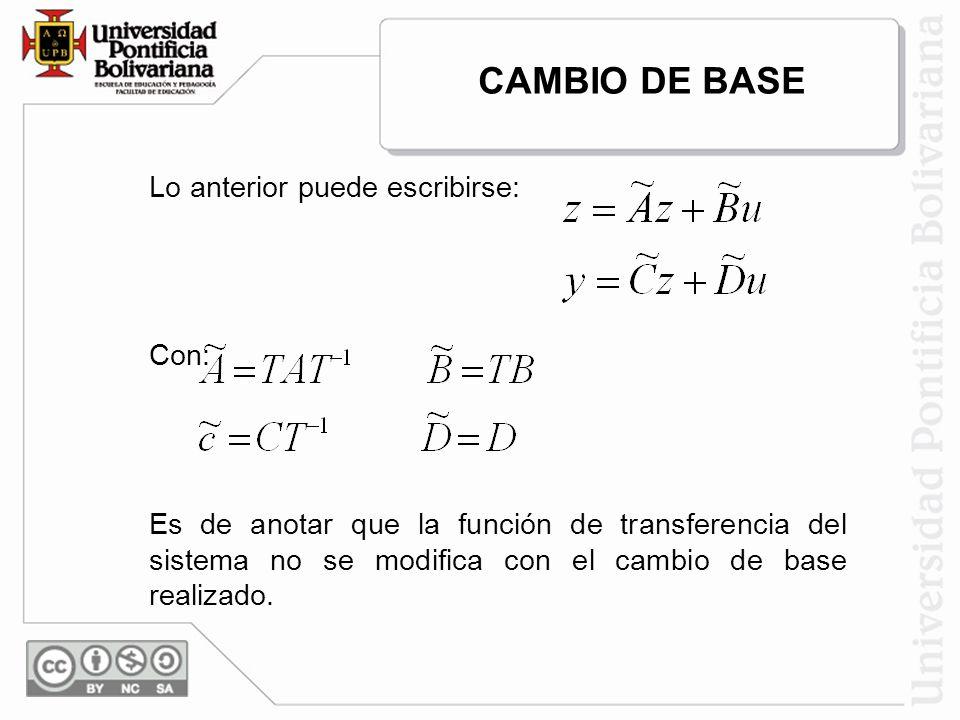 Lo anterior puede escribirse: Con: Es de anotar que la función de transferencia del sistema no se modifica con el cambio de base realizado. CAMBIO DE