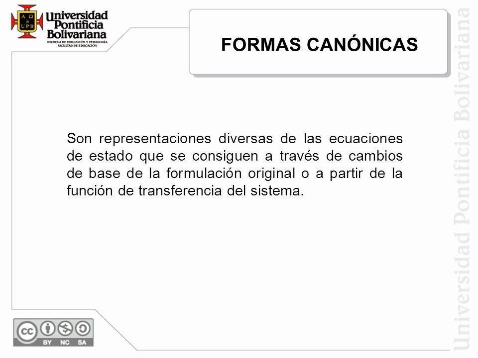 FORMAS CANÓNICAS Son representaciones diversas de las ecuaciones de estado que se consiguen a través de cambios de base de la formulación original o a