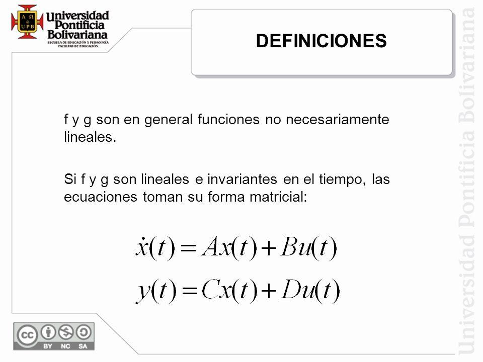 f y g son en general funciones no necesariamente lineales. Si f y g son lineales e invariantes en el tiempo, las ecuaciones toman su forma matricial: