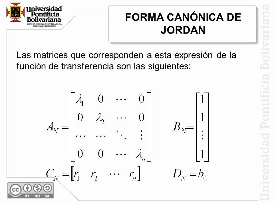 Las matrices que corresponden a esta expresión de la función de transferencia son las siguientes: FORMA CANÓNICA DE JORDAN
