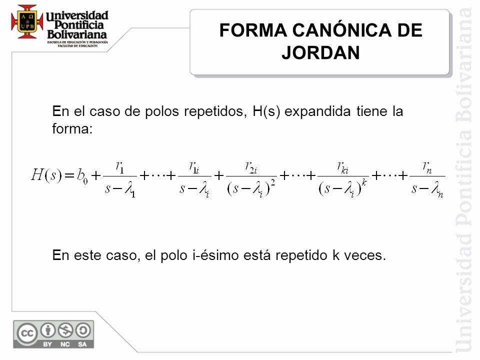 En el caso de polos repetidos, H(s) expandida tiene la forma: En este caso, el polo i-ésimo está repetido k veces. FORMA CANÓNICA DE JORDAN