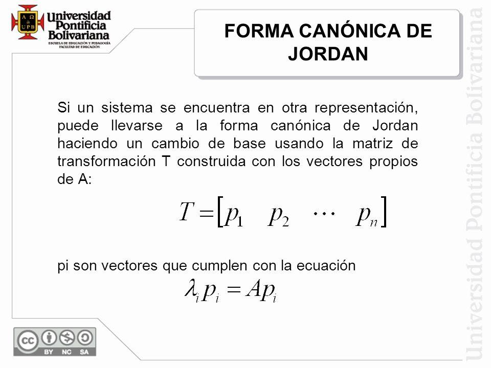 Si un sistema se encuentra en otra representación, puede llevarse a la forma canónica de Jordan haciendo un cambio de base usando la matriz de transformación T construida con los vectores propios de A: pi son vectores que cumplen con la ecuación FORMA CANÓNICA DE JORDAN
