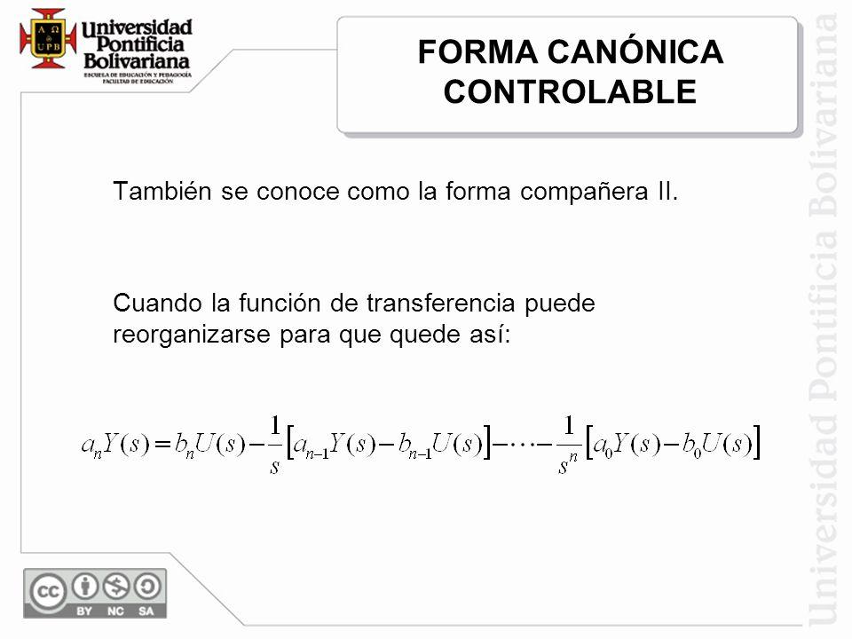 También se conoce como la forma compañera II. Cuando la función de transferencia puede reorganizarse para que quede así: FORMA CANÓNICA CONTROLABLE