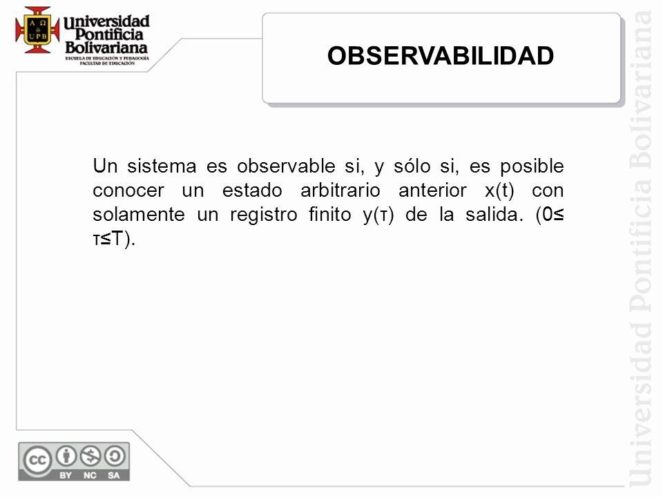 Un sistema es observable si, y sólo si, es posible conocer un estado arbitrario anterior x(t) con solamente un registro finito y(τ) de la salida. (0 τ