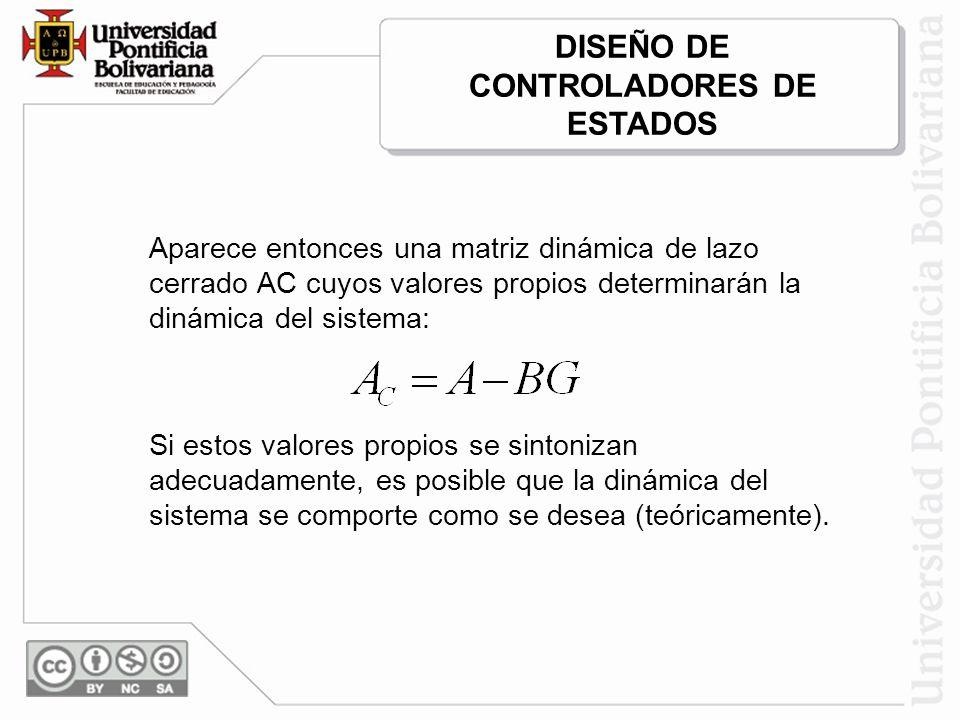 Aparece entonces una matriz dinámica de lazo cerrado AC cuyos valores propios determinarán la dinámica del sistema: Si estos valores propios se sinton