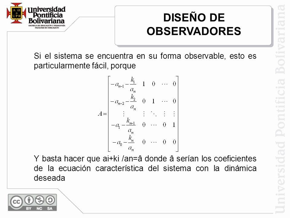 Si el sistema se encuentra en su forma observable, esto es particularmente fácil, porque Y basta hacer que ai+ki /an=â donde â serían los coeficientes