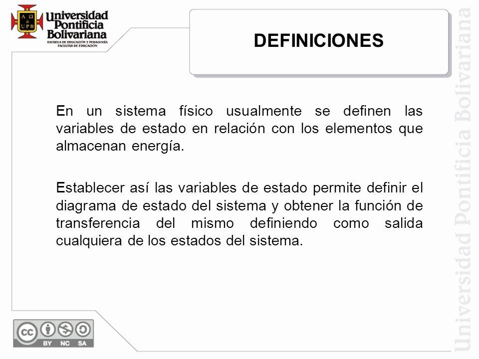 En un sistema físico usualmente se definen las variables de estado en relación con los elementos que almacenan energía. Establecer así las variables d